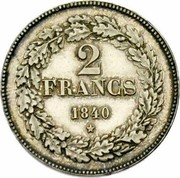 Belgium 2 Francs (Leopold I) KM# 9.2 2 FRANCS 1840 coin reverse