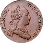 Belgium 2 Liards 1793 (b) KM# 57 Standart Coinage FRANC II D G R IMP D B coin obverse