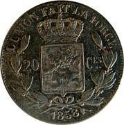 Belgium 20 Centimes 1858 KM# 19 Decimal Coinage L'UNION FAIT LA FORCE 20 CES. 1858 coin reverse