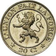 Belgium 20 Centimes 1860 LEOPOLD I. KM# 20 Decimal Coinage L'UNION FAIT LA FORCE 20 CS. coin reverse