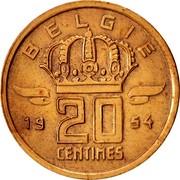Belgium 20 Centimes 1954 KM# 147.1 Decimal Coinage 20 CENTIMES BELGIE 19 54 coin reverse