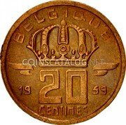 Belgium 20 Centimes 1959 KM# 146 Decimal Coinage coin reverse