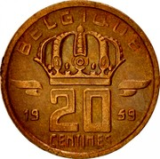 Belgium 20 Centimes 1959 KM# 146 Decimal Coinage BELGIQUE 19 20 CENTIMES 59 coin reverse