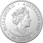 Australia 20 Cents (AC/DC - For Those About to Rock) ELIZABETH II AUSTRALIA 2021 20 CENTS coin obverse