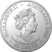 Australia 20 Cents (AC/DC - High Voltage) ELIZABETH II AUSTRALIA 2020 20 CENTS coin obverse