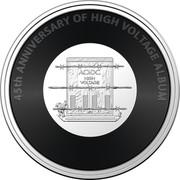 Australia 20 Cents (AC/DC - High Voltage) 45TH ANNIVERSARY OF HIGH VOLTAGE ALBUM AC/DC HIGH VOLTAGE coin reverse