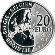 Belgium 20 Euro 100th Anniversary of Birth of Georges Remi 2007 Proof KM# 262 BELGIQUE BELGIE BELGIEN 20 EURO 2007 Q P coin obverse
