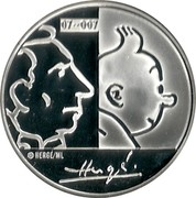Belgium 20 Euro 100th Anniversary of Birth of Georges Remi 2007 Proof KM# 262 07~ 007 © HERGÉ / ML HERGÉ coin reverse