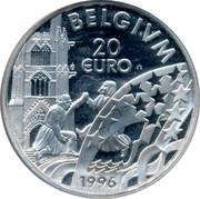 Belgium 20 Euro 1996 UNC Kingdom BELGIUM 20 EURO 1996 coin reverse
