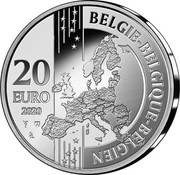 Belgium 20 Euro 20 Years Historical city center Bruges world heritage 2020 BELGIE BELGIQUE BELGIEN 20 EURO 2020 coin reverse