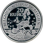 Belgium 20 Euro 2010 Proof KM# 305 European Union Issues coin obverse