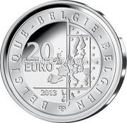 Belgium 20 Euro 2013 Proof KM# 330 European Union Issues coin obverse