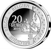 Belgium 20 Euro 2014 Proof KM# 342 European Union Issues coin obverse
