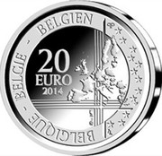 Belgium 20 Euro 25th Anniversary of the Fall of the Berlin Wall 2014 Proof KM# 342 BELGIQUE BELGIE BELGIEN Q P 20 EURO 2014 LL coin obverse