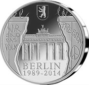 Belgium 20 Euro 25th Anniversary of the Fall of the Berlin Wall 2014 Proof KM# 342 WIR SIND DAS VOLK FREEDOM BERLIN 1989 - 2014 coin reverse