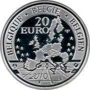 Belgium 20 Euro A Dog of Flanders 2010 Proof KM# 305 BELGIE BELGIQUE BELGIEN 20 EURO 2010 Q P coin obverse
