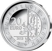Belgium 20 Euro Abdication of King Albert II 2013 Proof KM# 330 BELGIQUE BELGIE BELGIEN 20 EURO 2013 LL Q P coin obverse