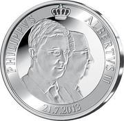 Belgium 20 Euro Abdication of King Albert II 2013 Proof KM# 330 PHILIPPVS ALBERTVS II 21.7.2013 coin reverse