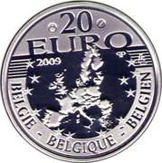 Belgium 20 Euro Canonization of Father Damien 2009 Proof KM# 287 20 EURO 2009 LL BELGIE BELGIQUE BELGIEN Q P coin obverse