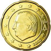 Belgium 20 Euro Cent Albert II - 1st map - 1st type - 1st portrait 2002 KM# 228 A II 2002 coin obverse