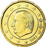 Belgium 20 Euro Cent Albert II - 2nd map - 1st type - 1st portrait 2007 Proof KM# 243 A II 2007 coin obverse
