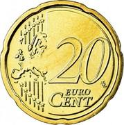 Belgium 20 Euro Cent Albert II - 2nd map - 1st type - 1st portrait 2007 Proof KM# 243 20 LL EURO CENT coin reverse