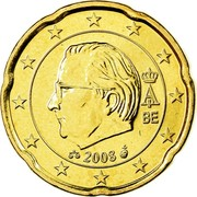 Belgium 20 Euro Cent Albert II - 2nd map - 2nd type - 2nd portrait 2008 Proof KM# 278 A II BE 2008 coin obverse