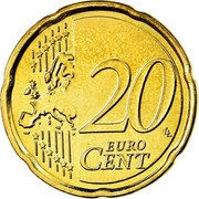 Belgium 20 Euro Cent Albert II - 2nd map - 2nd type - 2nd portrait 2008 Proof KM# 278 20 EURO CENT LL coin reverse