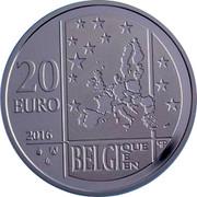 Belgium 20 Euro Commission for Relief in Belgium 2016 Proof KM# 361 20 EURO 2016 LL BELGI QUE E EN Q P coin obverse