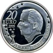Belgium 20 Euro FIFA World Cup in Germany 2005 Proof KM# 254 20 EURO 2005 A II BELGIQUE BELGIE BELGIEN coin obverse