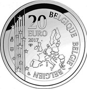 Belgium 20 Euro Toots Thielemans 2017 BELGIQUE BELGIE BELGIEN 20 EURO 2017 Q P coin obverse