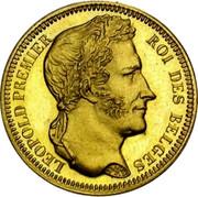 Belgium 20 Francs 1835 KM# A23.1 Decimal Coinage LEOPOLD PREMIER ROI DES BELGES BRAEMT F. coin obverse