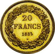 Belgium 20 Francs 1835 KM# A23.1 Decimal Coinage 20 FRANCS 1835 coin reverse