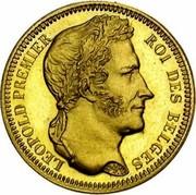 Belgium 20 Francs Leopold I 1835 Restrike KM# A23.3 BRAEMT F. LEOPOLD PREMIER ROI DES BELGES coin obverse