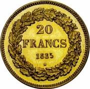 Belgium 20 Francs 1835 Restrike KM# A23.2 Decimal Coinage 20 FRANCS 1835 coin reverse