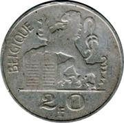 Belgium 20 Francs 1949 KM# 140.2 Decimal Coinage BELGIQUE R LEX 2 0 F coin reverse
