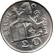 Belgium 20 Francs 1951 KM# 141.2 Decimal Coinage BELGIE R LEX 2 0 F coin reverse