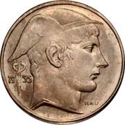 Belgium 20 Francs 1955 KM# 140.1 Decimal Coinage 19 50 RAU coin obverse