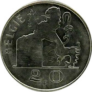 Belgium 20 Francs 1955 KM# 141.1 Decimal Coinage BELGIE R LEX 2 0 F coin reverse