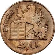 Belgium 20 Francs 1955 KM# 140.1 Decimal Coinage BELGIQUE R LEX 2 0 F coin reverse
