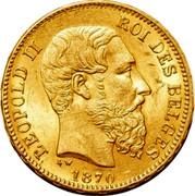 Belgium 20 Francs KM# 37 Decimal Coinage LEOPOLD II ROI DES BELGES L W 1870 coin obverse