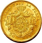 Belgium 20 Francs KM# 37 Decimal Coinage L' UNION FAIT LA FORCE 20 FR coin reverse