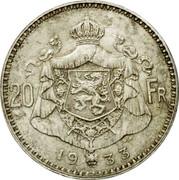 Belgium 20 Francs KM# 103.1 Decimal Coinage 20 FR 1934 G.D coin reverse