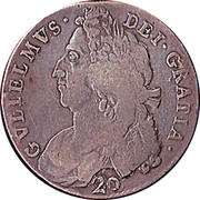 UK 20 Shillings William II 1695 KM# 142 GVLIELMVS · DEI · GRATIA · coin obverse