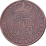 UK 20 Shillings William II 1695 KM# 142 MAG · BRIT · FRA · ET · HIB · REX · 1696 coin reverse