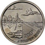 Belgium 200 Francs (200 Frank) 2000 KM# 217 Decimal Coinage coin obverse