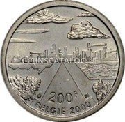 Belgium 200 Francs (200 Frank) 2000 KM# 216 Decimal Coinage coin obverse