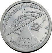 Belgium 200 Francs (200 Frank) 2000 KM# 215 Decimal Coinage coin obverse