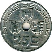 Belgium 25 Centimes 1938 KM# 115.2 Decimal Coinage BELGIE BELGIQUE 25C O.JESPERS coin obverse