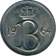 Belgium 25 Centimes 1964 KM# 154.2 Decimal Coinage 19 B 64 RAF MAILLEUX coin obverse